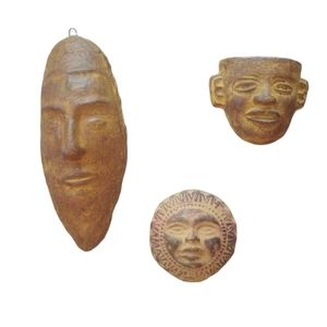 Set of 3 Carved Stone Masks, Mexican, Wall Decor